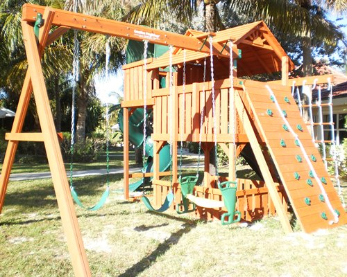 A scenic outdoor children's play area.
