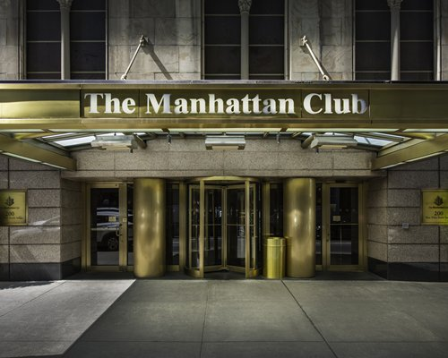Exterior view of the entrance to The Manhattan Club.