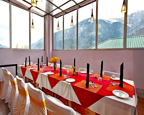 A fine dining area at the Sterling Manali resort with the mountain view.