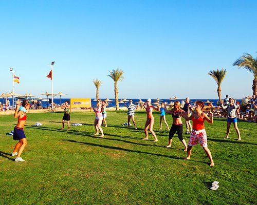 View of people exercising alongside the beach with sunshades and palm trees.