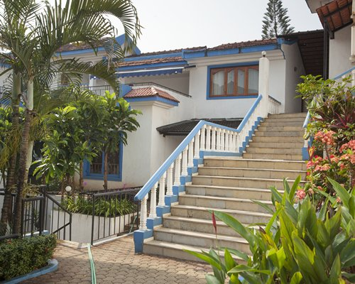 Scenic exterior view of a resort unit with staircase.