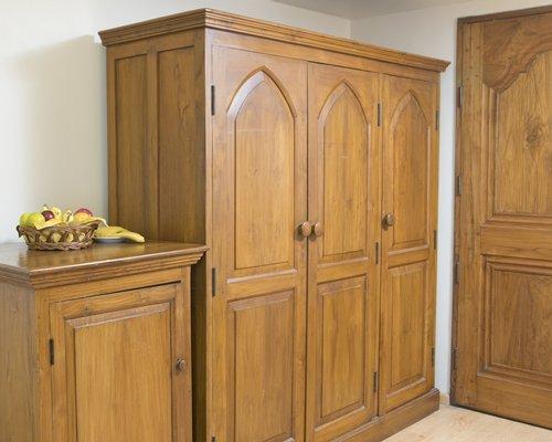 A wooden wardrobe.