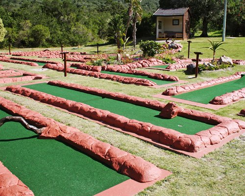 A well maintained putt putt golf course surrounded by a wooded area.