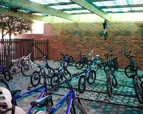View of bikes outside a unit.