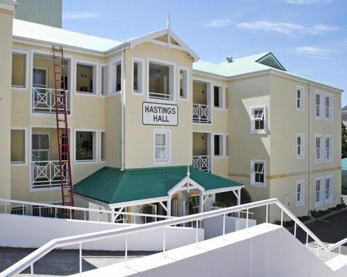 An exterior view of Hastings Hall resort units.
