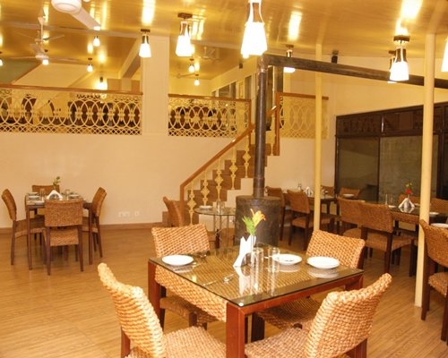 A well furnished indoor restaurant at Avalon Mussoorie resort.