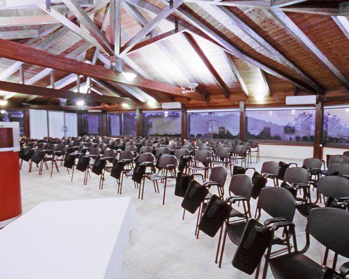 Indoor venue at Agios Nikolaos Bay with outside view.