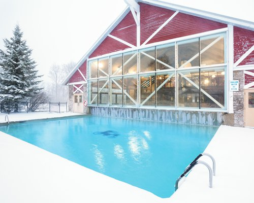 Outdoor swimming pool at a snowy area with pine trees.