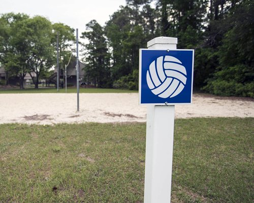 An outdoor volleyball court surrounded by trees.