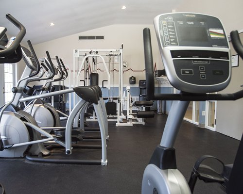 A well equipped indoor fitness center.
