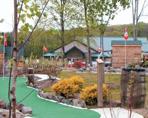 An outdoor miniature golf course with trees alongside resort unit.