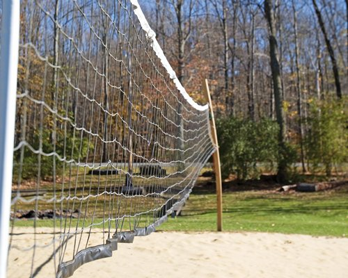 A volleyball court near wooded area.