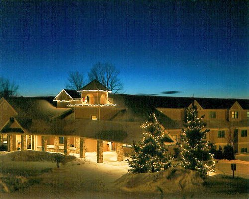 Scenic exterior view of the Westwood Shores Resort covered in snow.