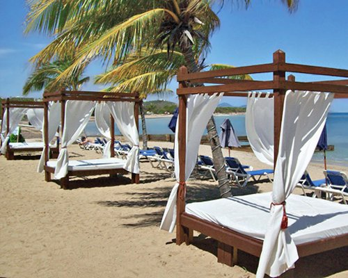 View of the beach with beach beds chaise lounge chairs sunshades and palm trees.