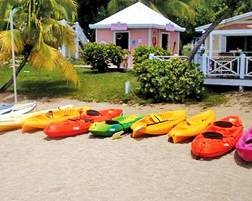 View of inflatable floating tubes at the beach.