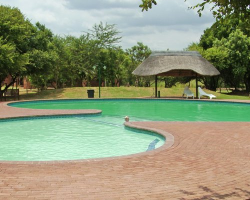 Large outdoor swimming pool with chaise lounge chairs and thatched sunshade.