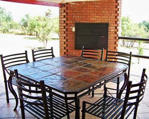 A well furnished outdoor dining area.