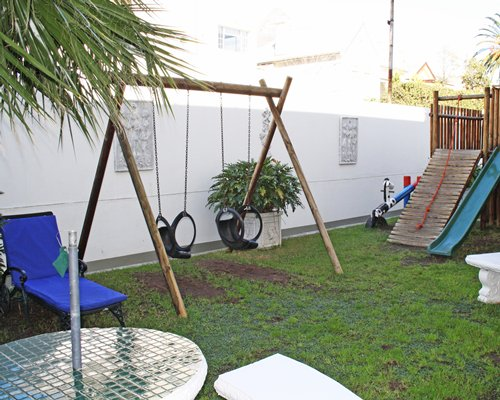An outdoor kids playscape.