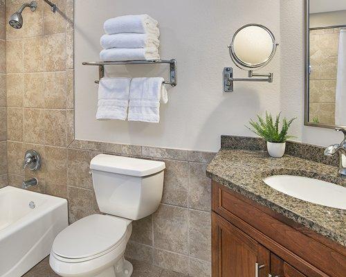 A bathroom with shower and bathtub alongside the bedroom.
