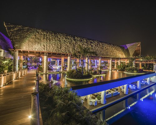 Night view of a lounge area at the resort.