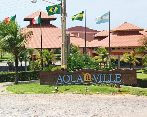 Signboard of Aquaville Resort.