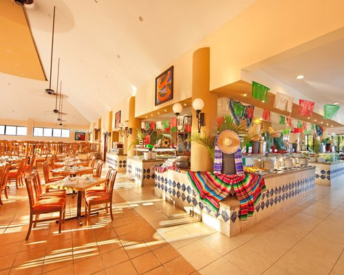 An indoor fine dining restaurant alongside a well stocked gift shop.
