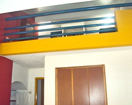 An indoor balcony.