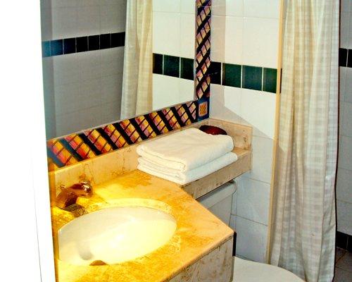 View of single sink vanity.