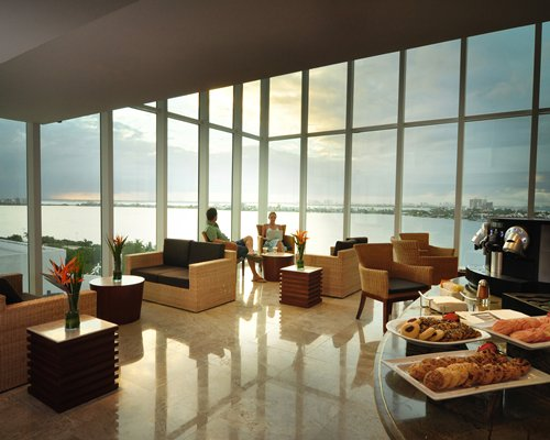 A spacious lounge with waterfront view.