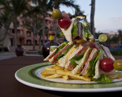 A food item on an outdoor table.