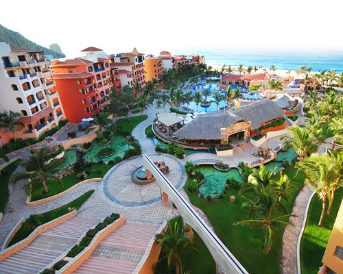 An aerial view of the resort property.