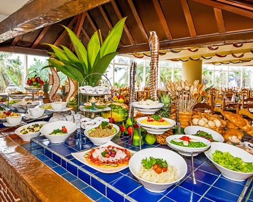 Indoor restaurant with a buffet.