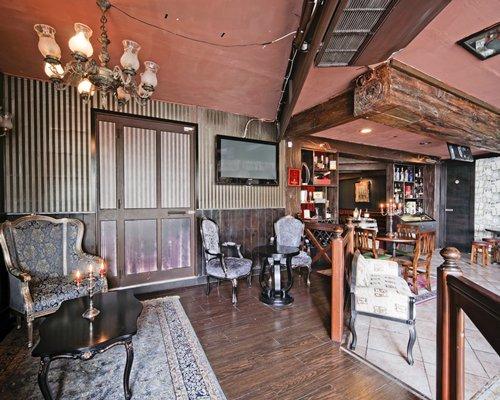Indoor bar and restaurant at Porto Azzurro Resort Club.