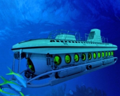 An underwater submarine.