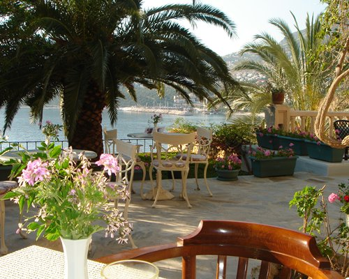 An outdoor dining area with trees and potted plants alongside the beach.