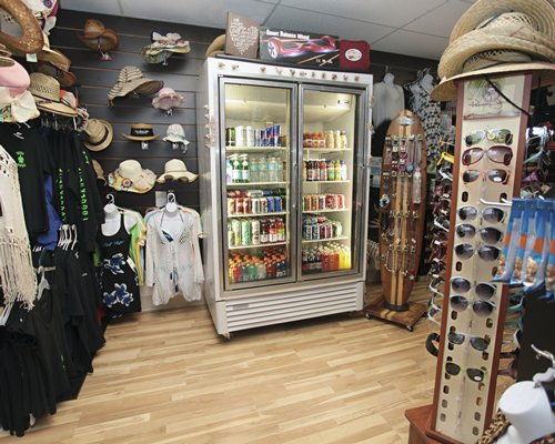 A well stocked apparel and accessories shop.