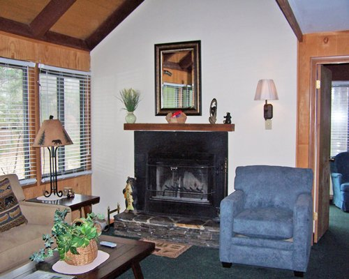 A well furnished living room with sofas fireplace and an outside view.