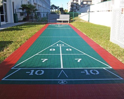An outdoor shuffleboard.