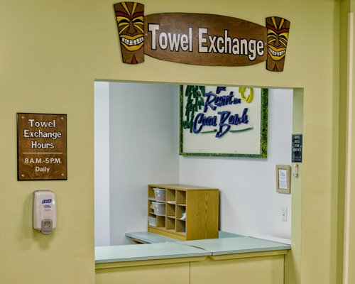 A towel exchange counter.