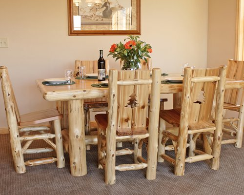 A wooden themed dining room.