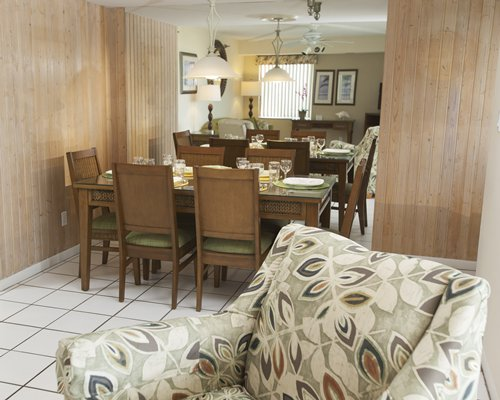 An open plan living and dining area.