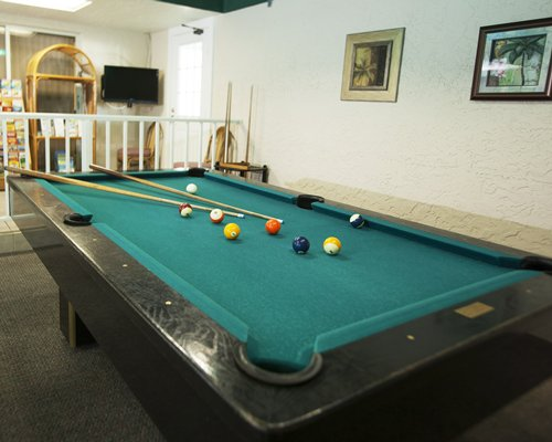 An indoor pool table at the Calini Beach Club.