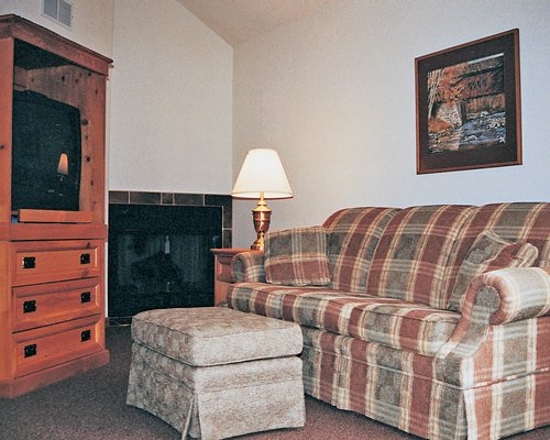 A well furnished living room with a pull out sofa television and a fireplace.
