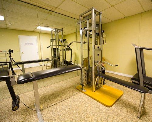 An indoor fitness center.
