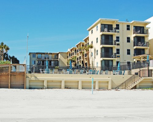 A street view of multi story resort units.