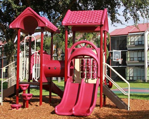An outdoor playscape area for kids.