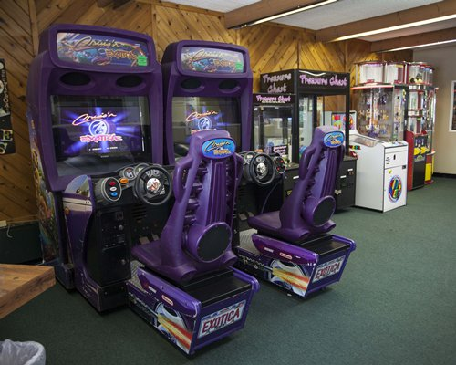 A recreational room with arcade games.