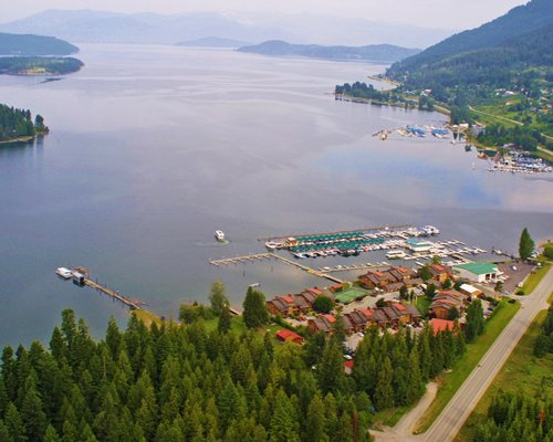 An aerial view of the resort property alongside the bay.
