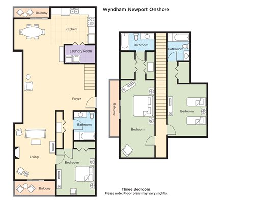 A floor plan of three bedroom unit.