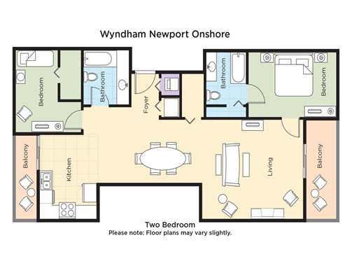 A floor plan of two bedroom unit.